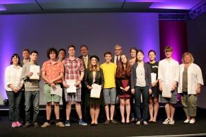 Die Gewinnerinnen und Gewinner des Lyrix-Wettbewerbs  © Deutschlandradio, Foto: Anna-Lisa Deichert