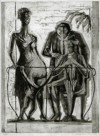 schwarz-weiß Druckgrafik mit vier abstrakt dargestellten Figuren auf einem Balkon