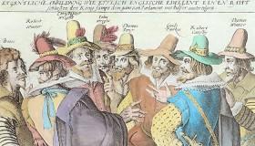 Kupferstich einer Gruppe von Männern in einer Unterhaltung