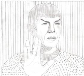 Schwarz-weiß Zeichnung eines Mannes, der die Hand zum Gruß hebt, die Finger sind zwischen Mittel- und Ringfinger gespreizt.