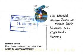 Farbfotografie einer Rückseite einer Postkarte, ohne Text.