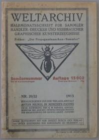 Titelbild der Zeitschrift Weltarchiv von 1913 mit einer Biene als Logo