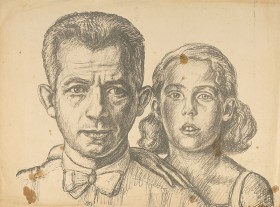 Bleistiftzeichung einen Mannes mit seiner ca. 10 Jahre alten Tochter