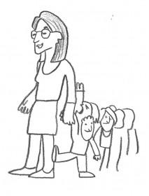 Illustration von einer Grundschullehrerin mit Schulklasse