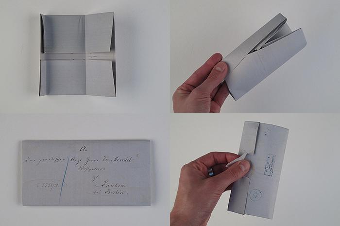 Durch die Faltungen entsteht eine Lasche, in die die eine Seite geschoben wird. Anschließend wird der gefaltete Brief mit einem Siegel verschlossen und auf dem entstandenen Feld adressiert. Zum Öffnen muss das Siegel aufgebrochen werden.