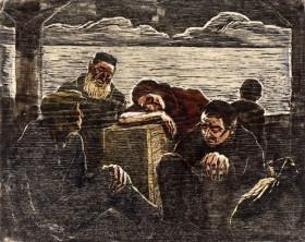 Der Holzschnitt stellt fünf Menschen mit Gepäck auf einem Schiff dar.