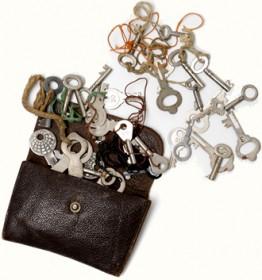 Ledertäschchen mit Schlüsseln
