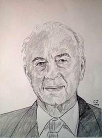 Porträtzeichnung einem Mannes in Anzug und Krawatte