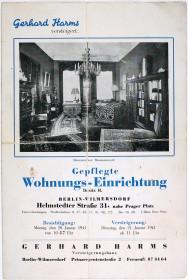Anzeige des Auktionshauses mit einem Foto des Herrenzimmers