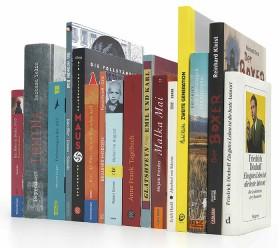 Buchrücken von 16 Büchern