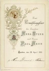 Einladungskarte für Herrn David Salomon, mit Blumenornament und Foto des Brautpaars