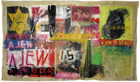 Bunte Collage mit gelbem Stern und den Worten »A Jew Is Dead«