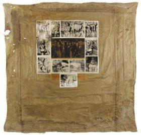 Collage aus einem Zeitungsfoto von KZ-Häftlingen umringt von Pin-up-Fotos