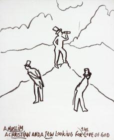 Ölkreidezeichnung: Drei Männer stehen im Gebirge und blicken suchend in die Landschaft