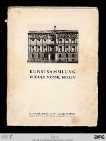"Digitalisat des Titelblatts der ""Kunstsammlung Rudolf Mosse, Berlin"""