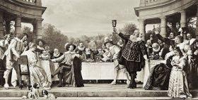 Schwarz-Weiß-Fotografie eines Gastmahl-Gemäldes