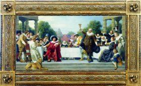 Ein Ölgemälde mit der Darstellung eines Gastmahls, in goldenem Rahmen