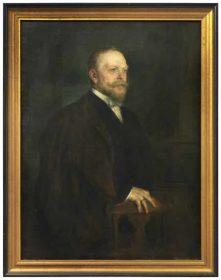 Ölgemälde eines Mannes mit Bart, schwarzem Anzug und dunklem Mantel
