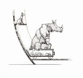 Tuschezeichnung. Ein Nashorn sitzt in auf einem Kohlewagen. Ein kleiner Hund pnkelt von oben auf den Wagen herunter.
