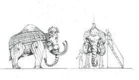 Tuschezeichnung eines Elephantengerüsts von der Seite und von vorne.