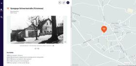 Screenshot. der links ein historishes Foto des Gebäudes und rechts eine Karte zeigt, auf der der Standort der Liegenschaft markiert ist