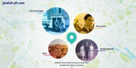 Karte mit vier runden Ausschnitten aus historischen Fotos