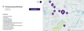 Screenshot, der eine Karte zeigt, auf der die Stationen des Spaziergang eingezeichnet sind