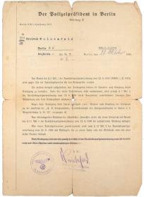 Amtliches Schreiben des Polizeipräsidenten zu Berlin