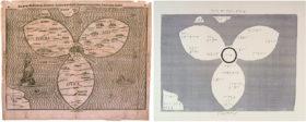 Historische Karte mit Beschriftung und zugehöriges Tastmodell