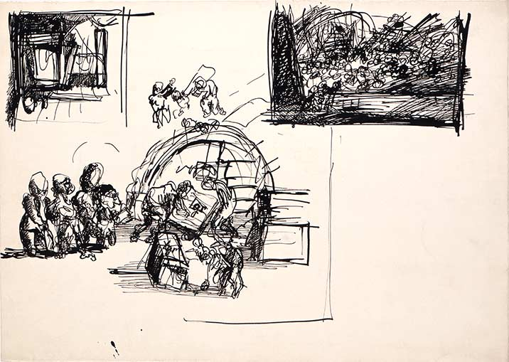 Bedrich Fritta, Three sketches: Inside a Barracks - Carrying Away the Corpses - Clearing the Sudeten Barracks