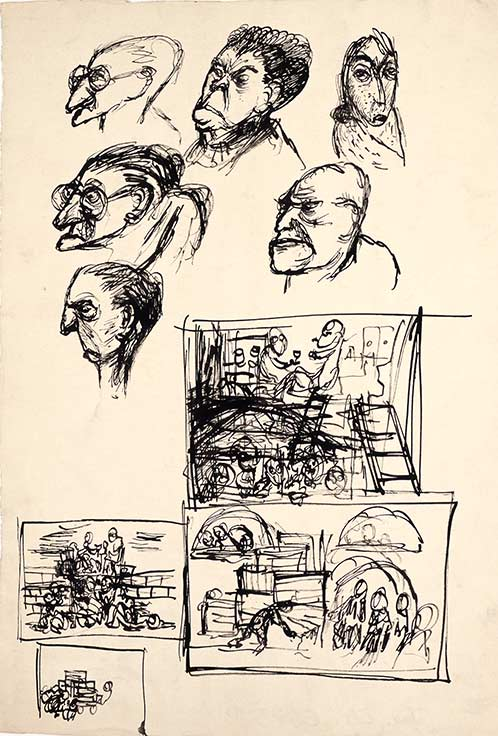 edrich Fritta, Sketches: Six Heads - The Life of a Privileged Detainee - Carrying Away the Corpses