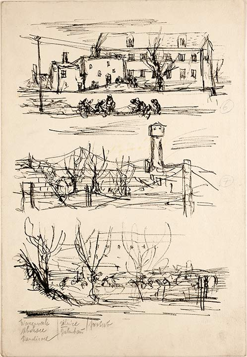 Bedrich Fritta, Three sketches: Group in front of Buildings - Fencing and Water Tower - Fencing and Buildings