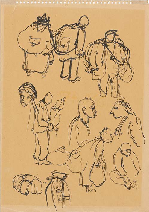 Bedrich Fritta, Studies of Figures from a Transport