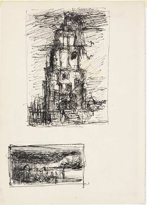 Bedrich Fritta, Two studies: Tower of Death - Vultures in Theresienstadt