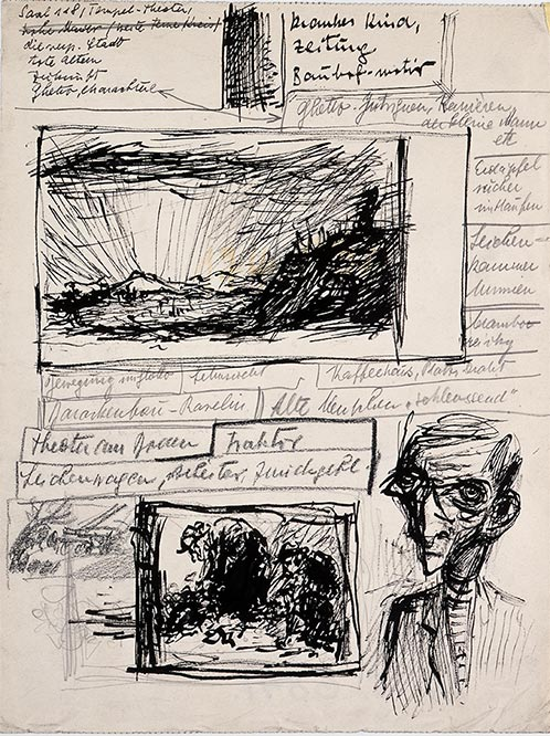 Bedrich Fritta, Three sketches: Landscape - Old People Sorting Garbage - Study of a Young Man