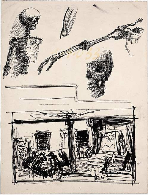 Bedrich Fritta, Two studies: Human Skeleton - Prayer and Theater