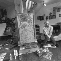 "R.B. Kitaj in his atelier with ""Self Portrait (Hockney Pillow)"" on the easel, 1993"