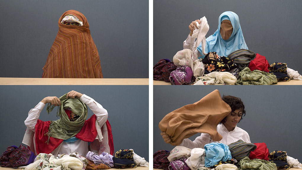 Four video stills of a woman removing veil after veil