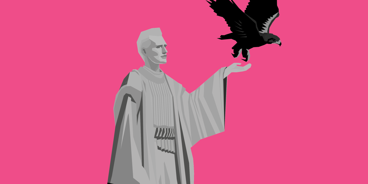 The drawing in comic style shows an androgynous figure in profile on magenta background. She wears a bright frock, her left hand is raised. An eagle has just flown out of her hand