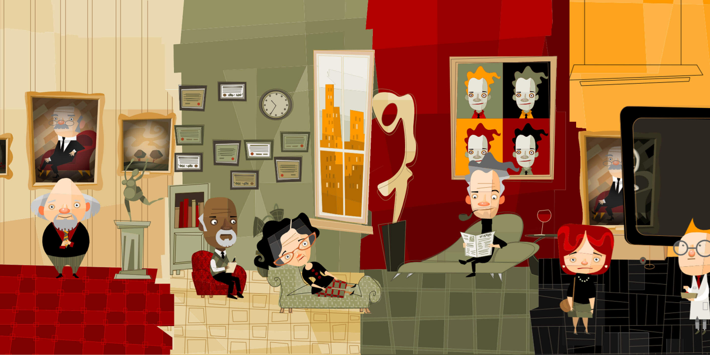 4 play scenes with comic figures, from left to right: the museum director in front of the painting to be restored, the heiress on the couch talking to her therapist, the son of the art dealer surrounded by art and the politician with a painting restorer