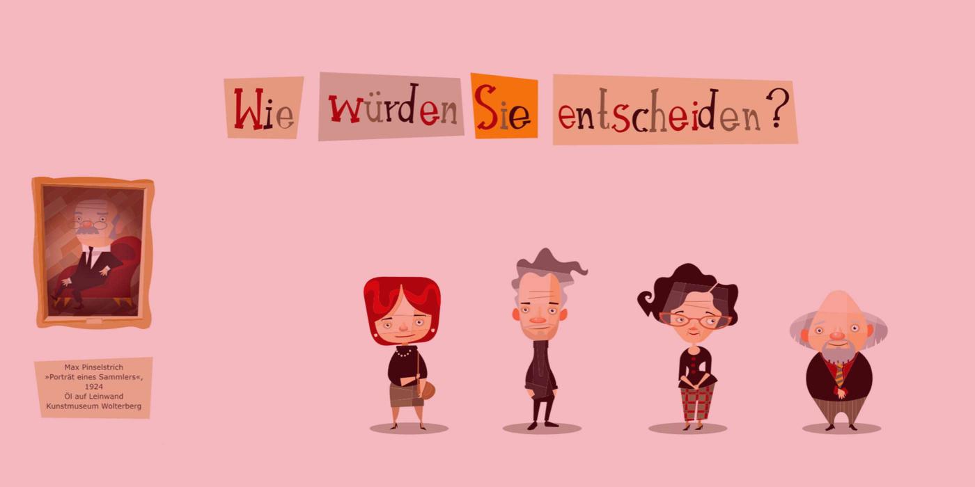 Comicartige Zeichnung eines gerahmten Gemäldes, daneben vier Figuren und die Frage: Wie würden Sie entscheiden?
