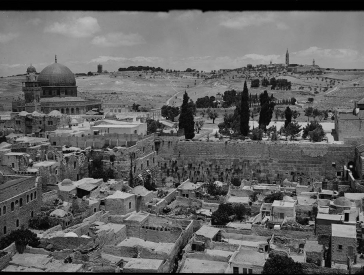 Black and white photography: View of the former Maghreb quarter in front of the Wailing Wall in Jerusalem