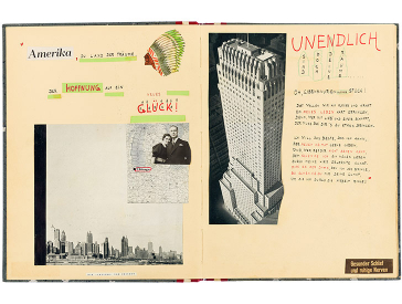 Opened album with pictures of the Chicago skyline, a skyscraper, a painting, and handwritten text