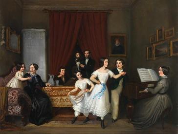 Ölgemälde einer Familienszene mit zum Klavier tanzenden Kindern in weißen Kleidern