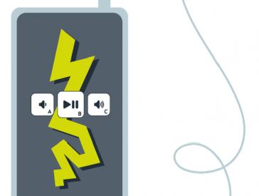 Grafik: Audioguide-Gerät mit Kabel