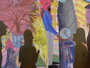 Shai Azoulays Gemälde citeGolem/cite: im Mittelpunkt steht ein Mann mit roter, Skimützen ähnlicher Maske, der eine blaue Kugel in der Hand hält, rechts neben ihm eine Burka tragende Frau. Im Vordergrund zwei menschliche Silkouetten, links ein Baum (ro