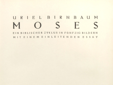 first page, also called the half-title page, of the Works of Moses by Uriel Birnbaum