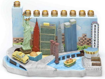 Hand-painted colorful candelabrum made of ceramic and synthetic resin depicting various New York City landmarks: the Statue of Liberty, the Empire State Building, the Chrysler Building, the World Trade Center, Broadway, and others.