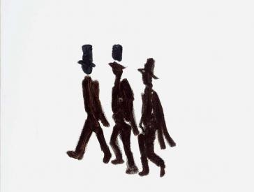 Drei gezeichnete schwarze Figuren mit Hut