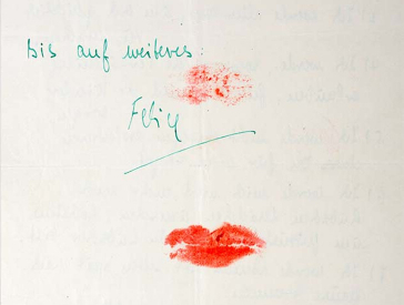 self written marriage contract, signed with a kiss mark of red lipstick